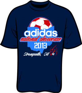 """A rendering of a blue t-shirt that reads """"adidas national showcase 2013 / Strongsville, OH"""" with outline of Ohio and soccer ball graphics"""