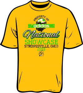 """Yellow t-shirt that reads """"PROPERTY OF adidas National SHOWCASE / STRONGSVILLE, OHIO 2013"""""""