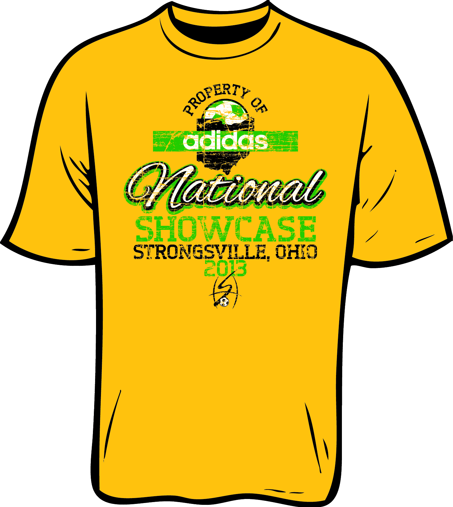 Design t shirt soccer -  Yellow T Shirt That Reads Property Of Adidas National Showcase Strongsville Ohio